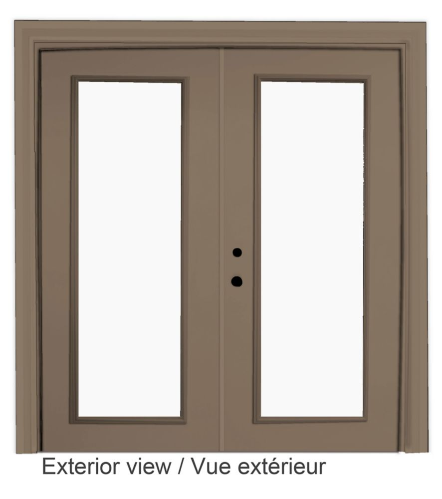 60-inch x 82-inch Sandstone Low-E Argon Righthand Steel Garden Door