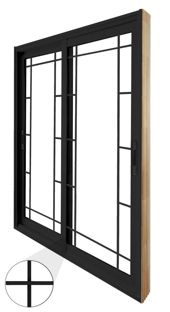 60-inch x 80-inch Black Double Sliding Patio Door Prairie Style Internal Grill