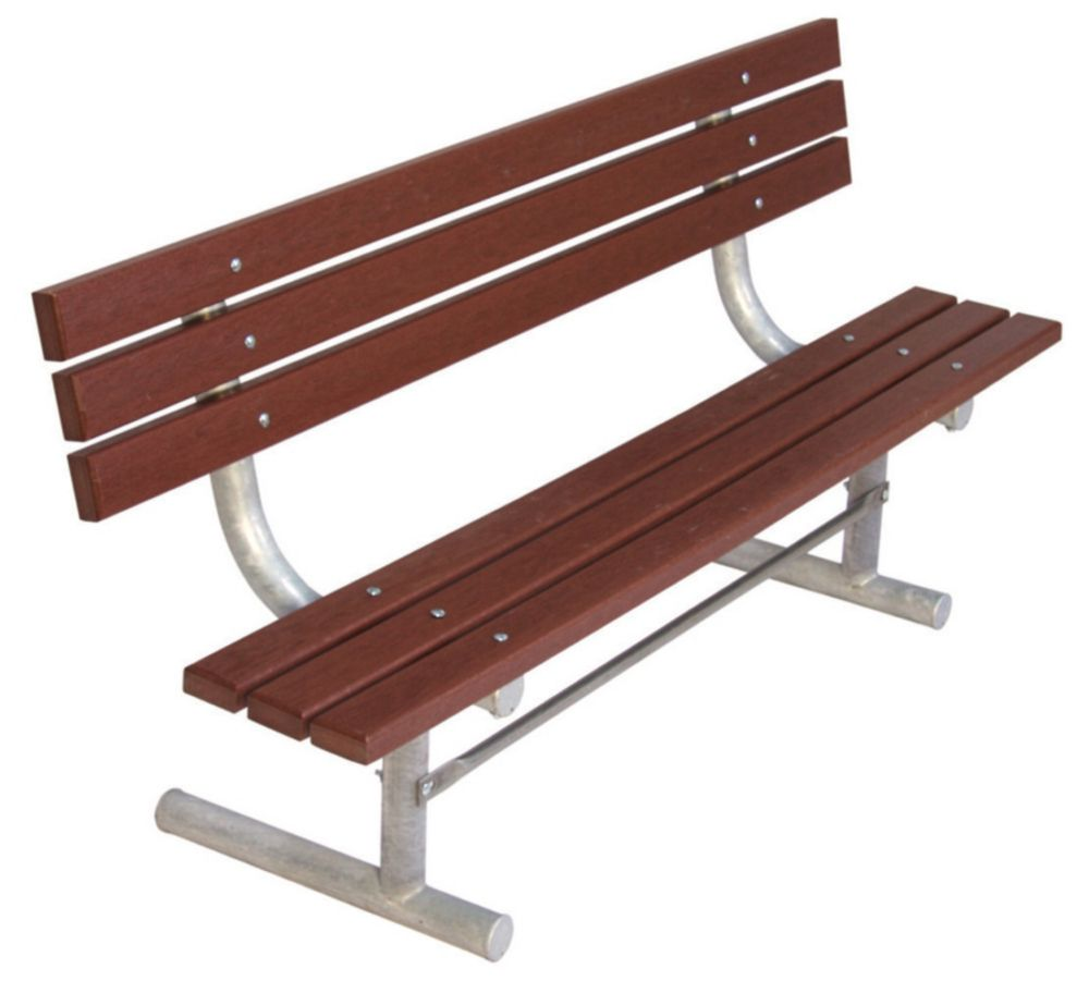 6 ft Commercial Recycled Plastic Bench w/ Back, Portable- Brown