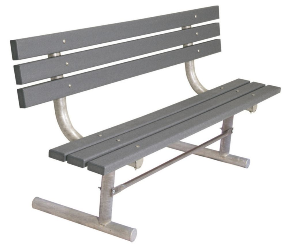 6 ft Commercial Recycled Plastic Bench w/ Back, Portable- Gray