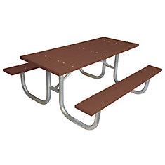 Table rectangulaire de 6pi fait de plastique recyclé- Brun