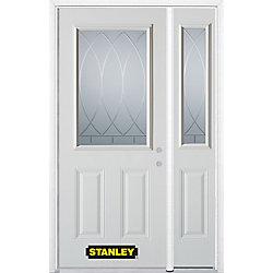 Stanley Doors Porte dentrée en acier préfini en blanc, munie de deux panneaux et dun 1/2 verre, 51 po x 82 po avec panneaux latéraux et moulure de brique