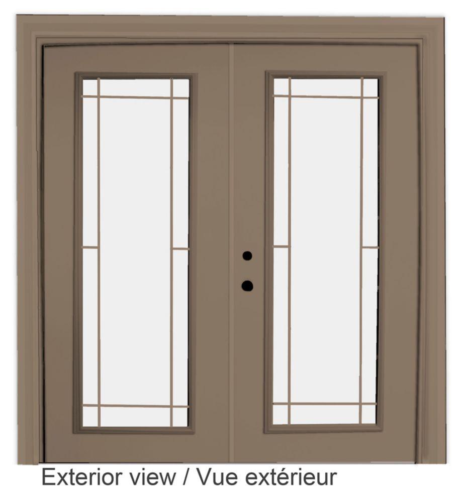 72-inch x 82-inch Sandstone Low-E Argon Righthand Steel Garden Door with Prairie Style Grill