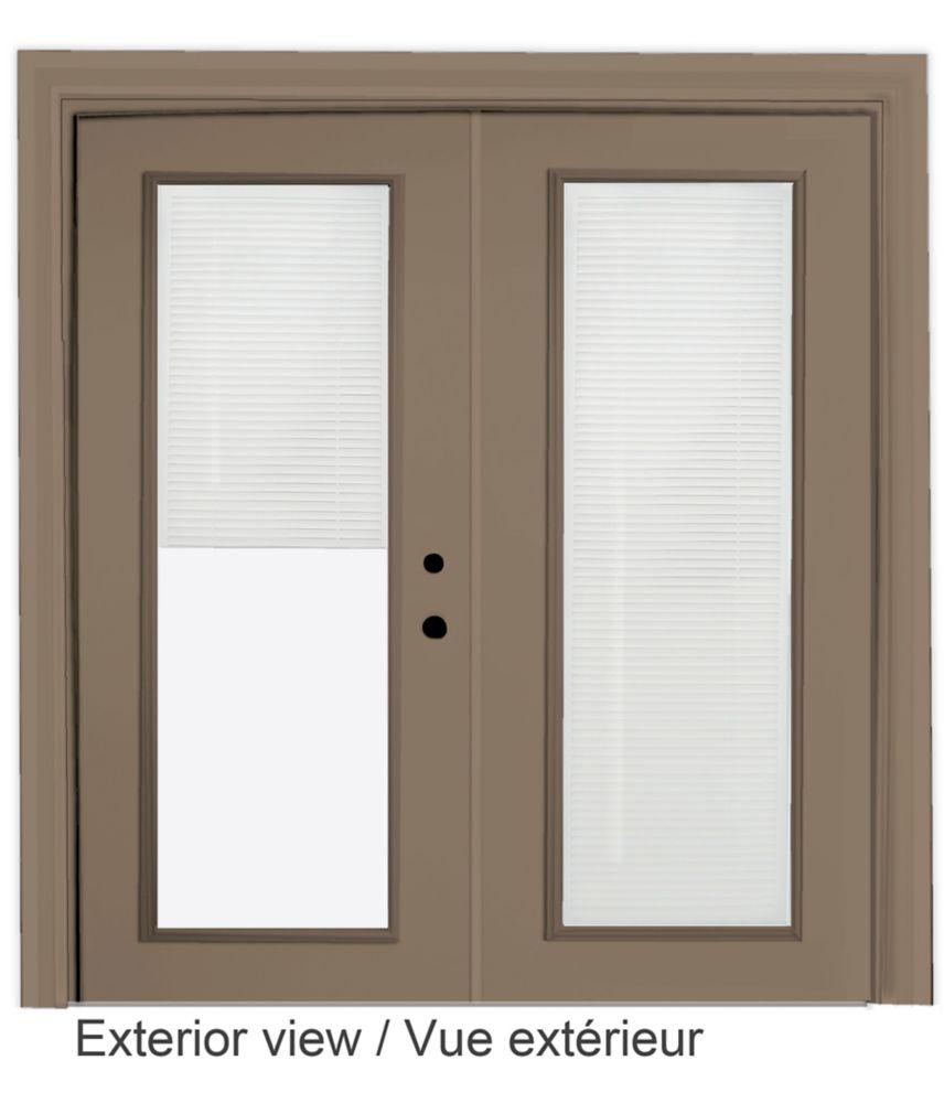 60-inch x 82-inch Sandstone Lefthand Steel Garden Door with Internal Mini Blinds