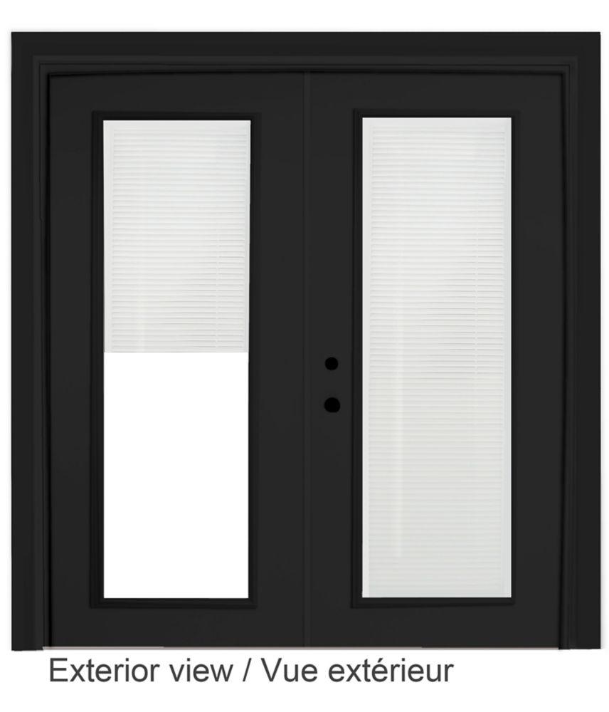 60-inch x 82-inch Black Righthand Steel Garden Door with Internal Mini Blinds