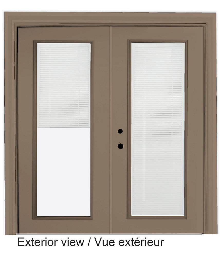 61 inch x 82.375 inch Clear LowE Painted Sandstone Right-Hand Steel Garden Door with 7-1/4 inch Jamb and Internal Mini Blinds - ENERGY STAR®