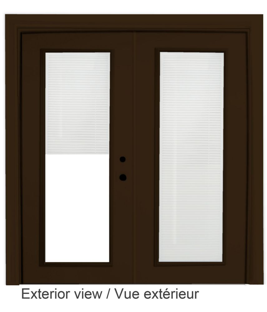 Steel Garden Door-Internal Mini Blinds-6 Ft. x 82.375 In. Pre-Finished Brown - Left Hand