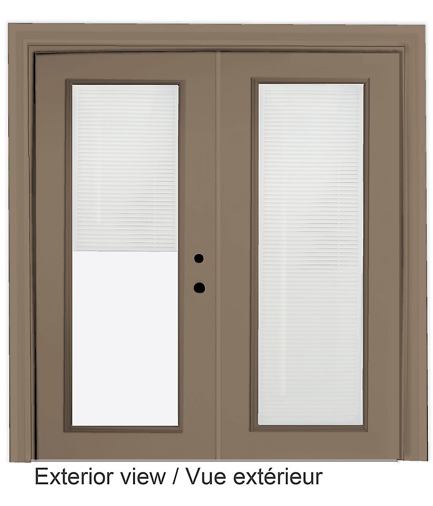 71 inch x 82.375 inch Clear LowE Painted Sandstone Left-Hand Steel Garden Door with 7-1/4 inch Jamb and Internal Mini Blinds