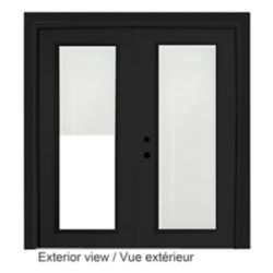 STANLEY Doors 71 inch x 82.375 inch Clear LowE Painted Black Right-Hand Steel Garden Door with 7-1/4 inch Jamb and Internal Mini Blinds
