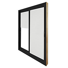 71.75 Inch X 79.75 Inch Clear LowE Painted Black Double Sliding Vinyl Patio  Door With Internal