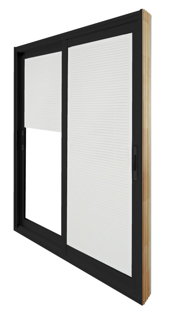 Stanley Doors 71.75 inch x 79.75 inch Clear LowE Painted Black Double Sliding Vinyl Patio Door with Internal Mini Blinds - ENERGY STAR®