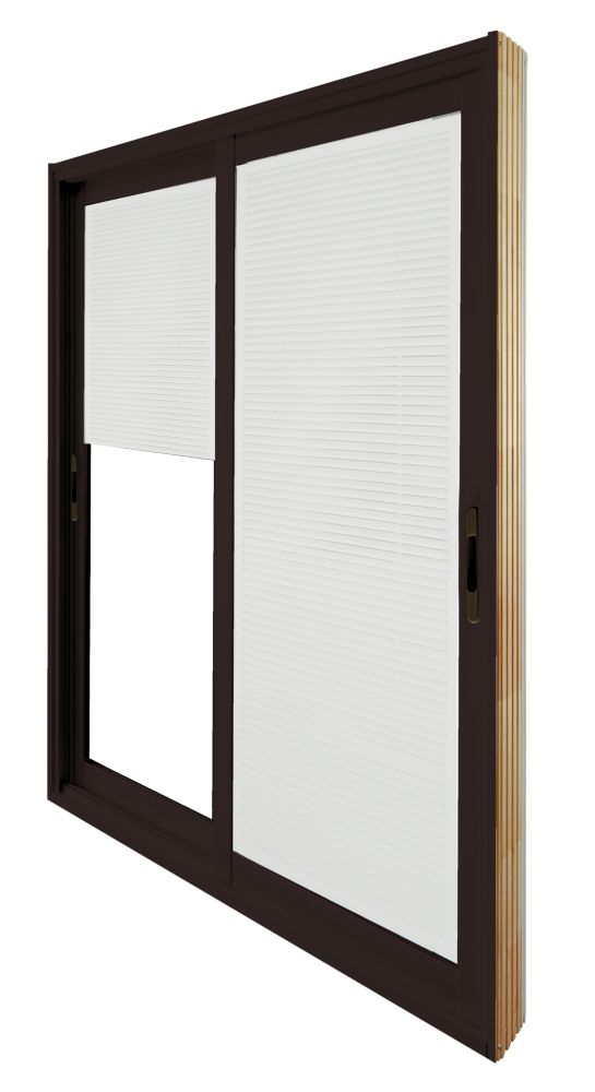 72-inch x 80-inch Brown Double Sliding Patio Door with Internal Mini Blinds