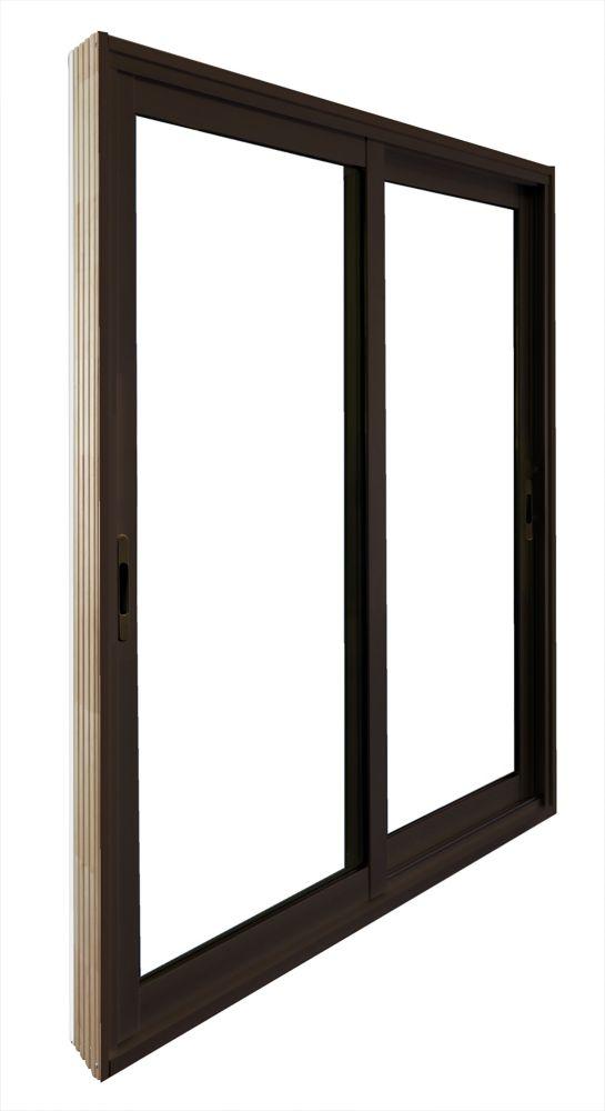 Double porte panoramique coulissante -  (60 po x 81 po)  intérieur blanc, extérieur brun commerci...