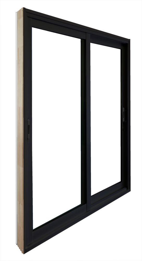 Double porte panoramique coulissante -  (72 po x 81 po) intérieur blanc , extérieur noir