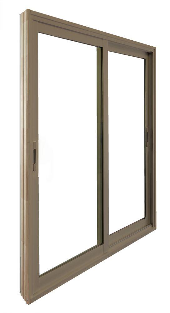 Double porte panoramique coulissante -  (72 po x 81 po) intérieur blanc, extérieur kaki