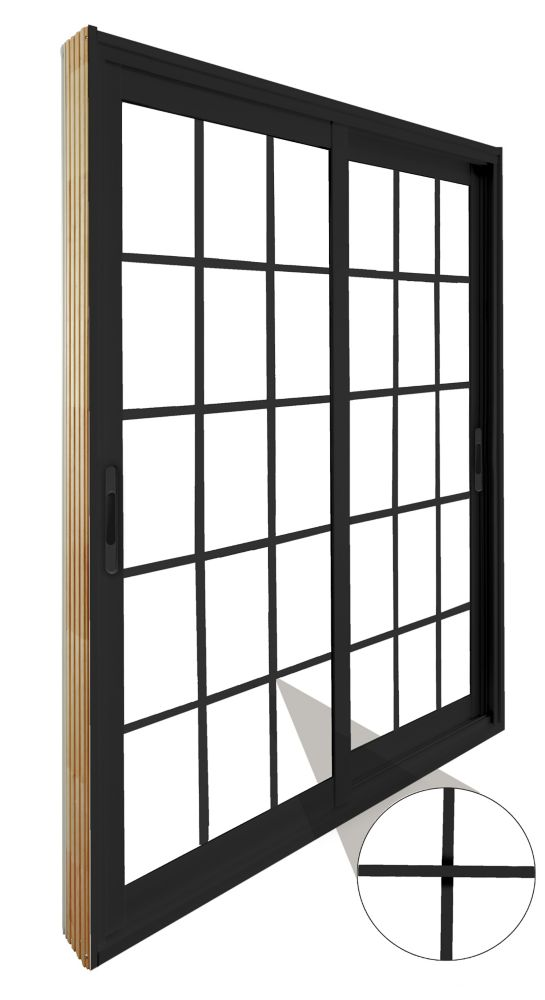 60-inch x 80-inch Black 15-Lite Double Sliding Patio Door with Internal White Flat Grill