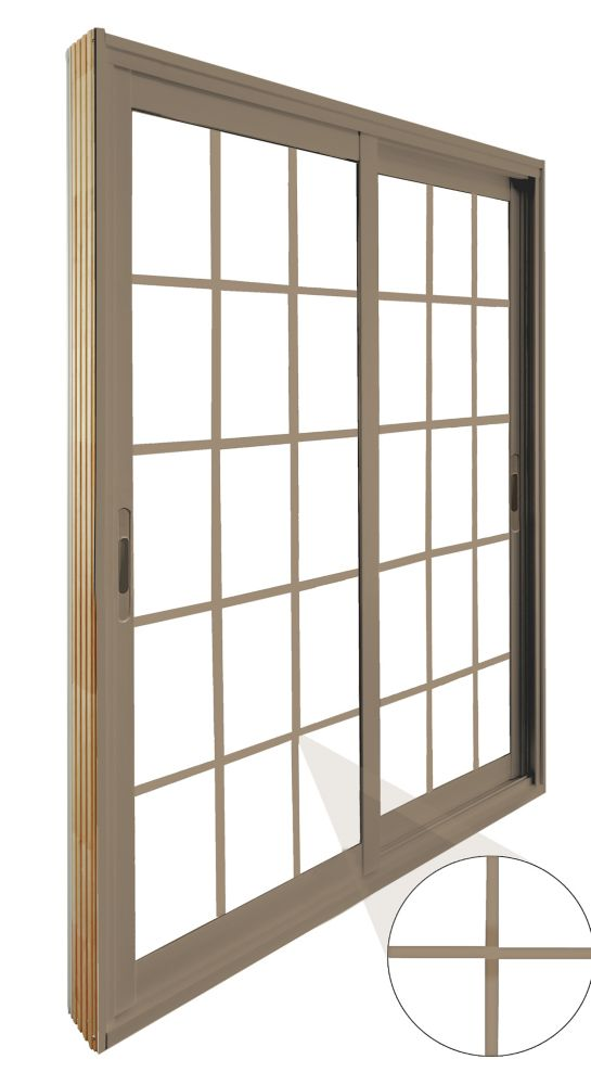 60-inch x 80-inch Sandstone 15-Lite Double Sliding Patio Door with Internal White Flat Grill