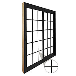 Stanley Doors 71.75 inch x 79.75 inch Clear LowE Argon Painted Black Double Sliding Vinyl Patio Door - ENERGY STAR®