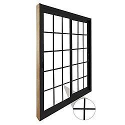 STANLEY Doors Double porte panoramique coulissante 15 lite carrelage intérieur blanc , extérieur noir plat, intégré -  (72 po x 81 po) - ENERGY STAR®