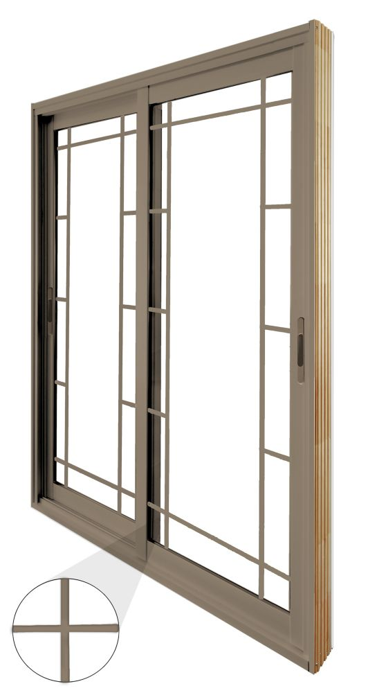 60-inch x 80-inch Sandstone Double Sliding Patio Door Prairie Style Internal Grill