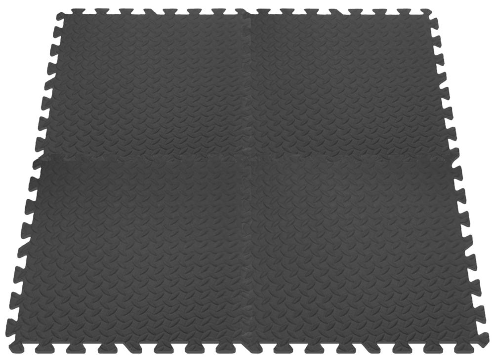 Anti-Fatigue Interlocking Mats - Grey - 24 Inches x 24 Inches (4 pack)