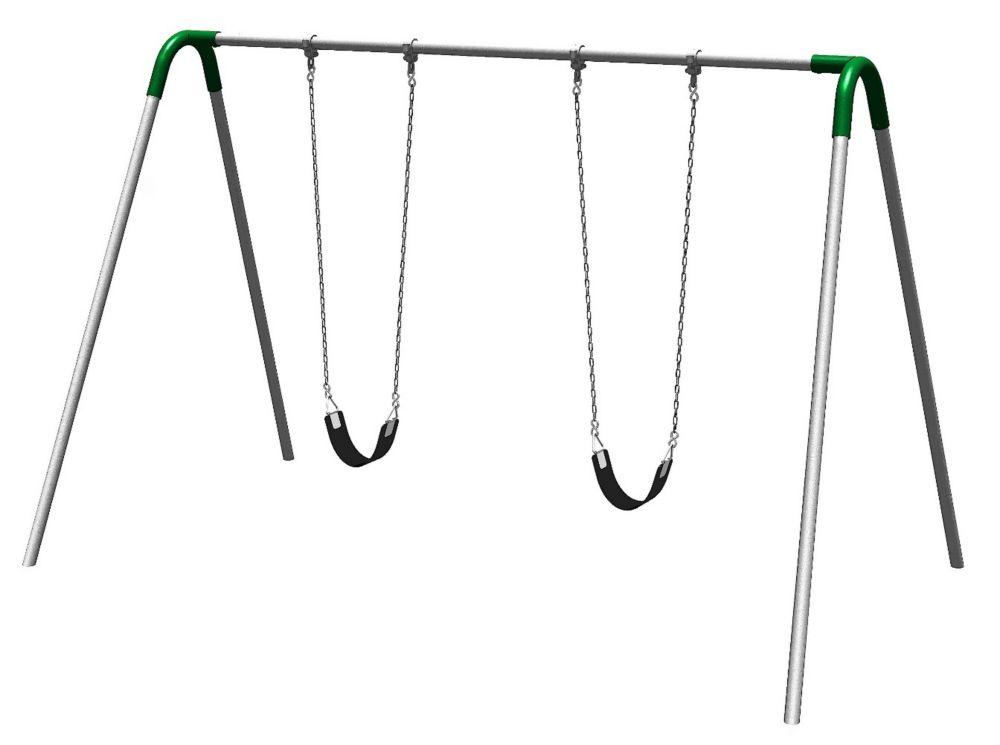 Portique de balançoires simple avec supports bipieds, sièges avec courroie et raccords verts