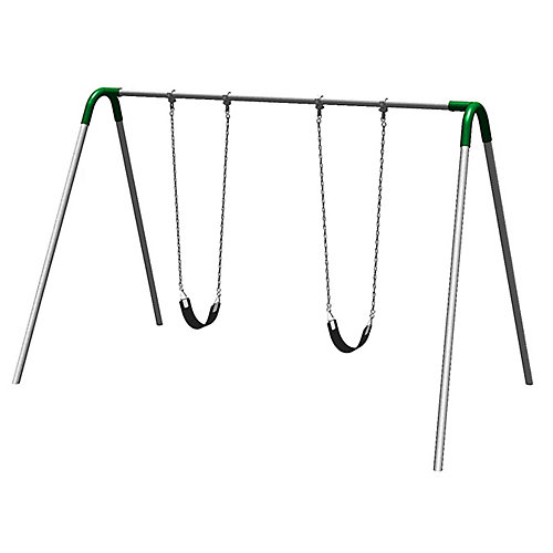 Single Bay Commercial Grade Bipod Swing Set with Strap Seats and Green Yokes