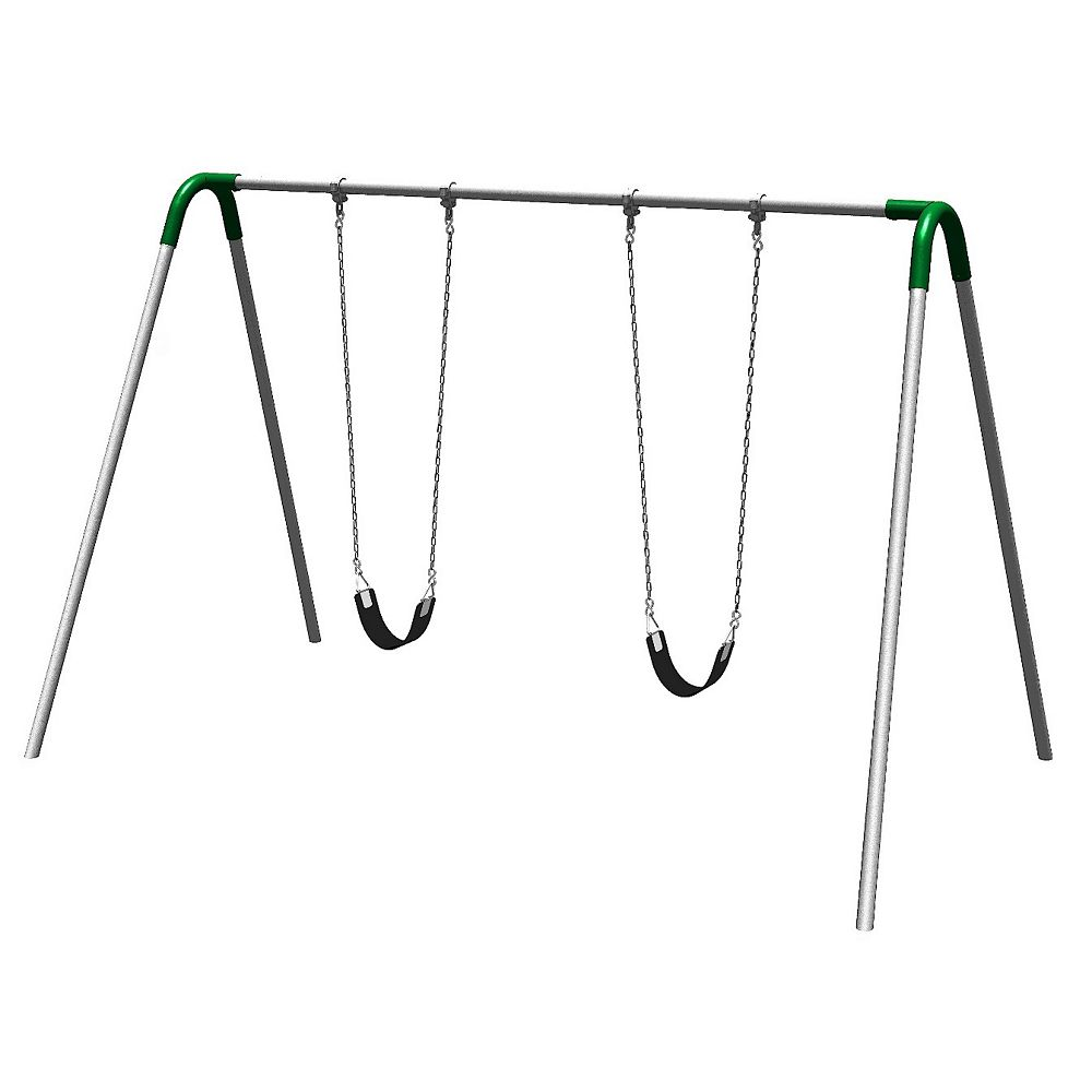 UPlay Today Single Bay Commercial Grade Bipod Swing Set with Strap Seats and Green Yokes