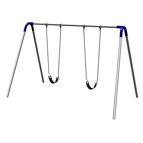 Single Bay Commercial Grade Bipod Swing Set with Strap Seats and Blue Yokes