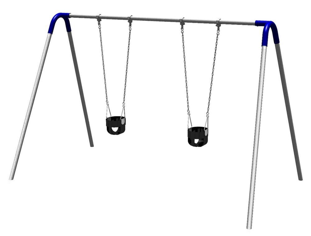 Portique de balançoires simple avec supports bipieds, sièges pour jeunes enfants et raccords bleu...