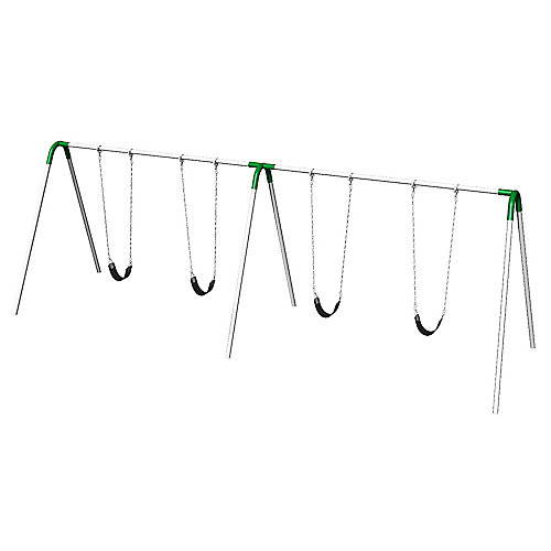 Double Bay Bipod Swing Set with Strap Seats & Green Yokes