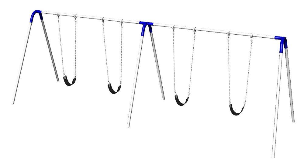 Portique de balançoires double avec supports bipieds, sièges à courroie et raccords bleus