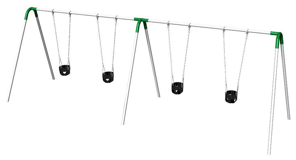 Double Bay Bipod Swing Set w/ Tot Seats & Green Yokes