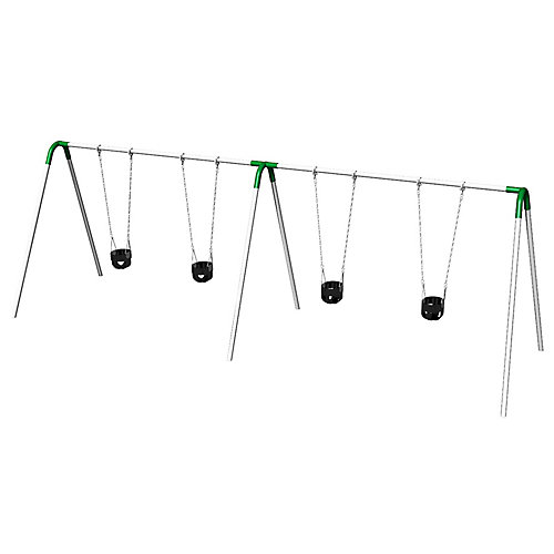 Double Bay Bipod Swing Set with Tot Seats & Green Yokes