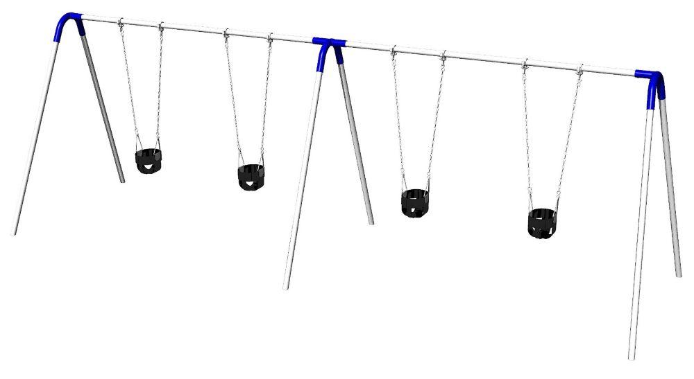 Portique de balançoires double avec supports bipieds, sièges pour jeunes enfants et raccords bleu...