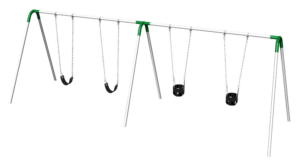 Double Bay Bipod Swing Set with 2 Tot Seats, 2 Strap Seats & Green Yokes