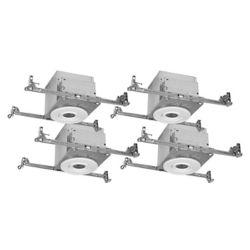 Halo Boîtiers de 4 po avec garnitures GU10 blanches 4 po affleurantes, étanches à l'air, plafonds isolés (IC) pour nouvelles constructions – paquet de 4