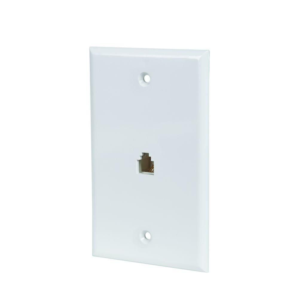 Commercial Electric Phone Jack Wall Plate in White (5-Pack)