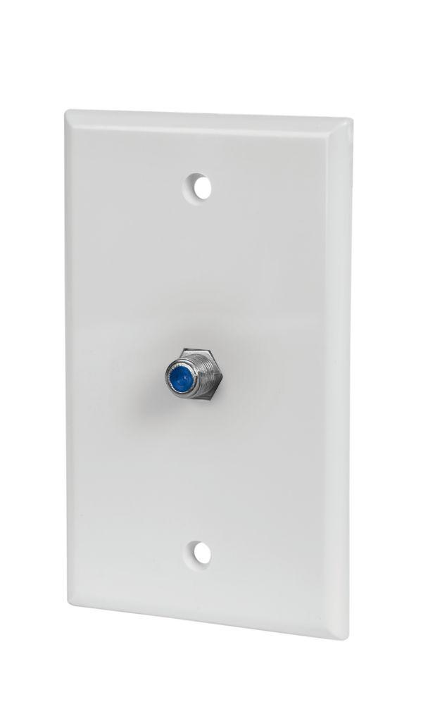COAX WALL PLATE, WHITE, 5 PK