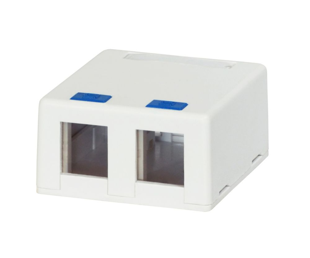 Commercial Electric 2-Port Surface Mounting Box in White