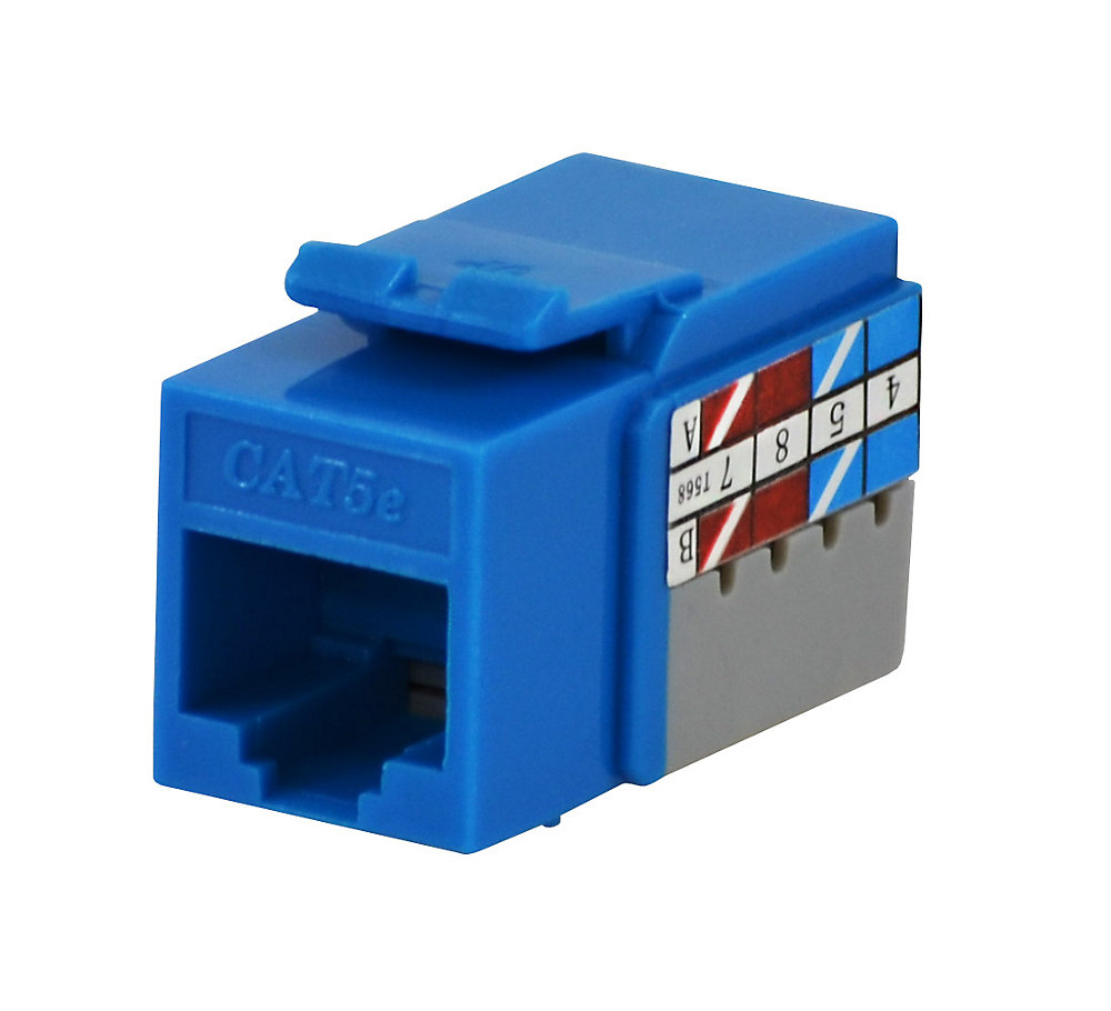 commercial electric cat5e jack in blue