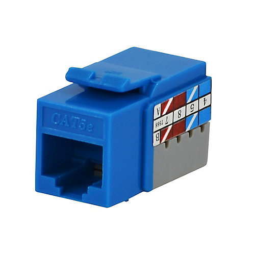 0.563-inch W x 0.625-inch H x 1.18-inch D Category 5e Jack - Blue