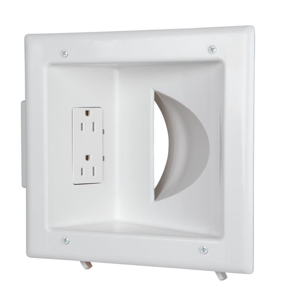 Commercial Electric Recessed Media Plate Duplex Receptacle