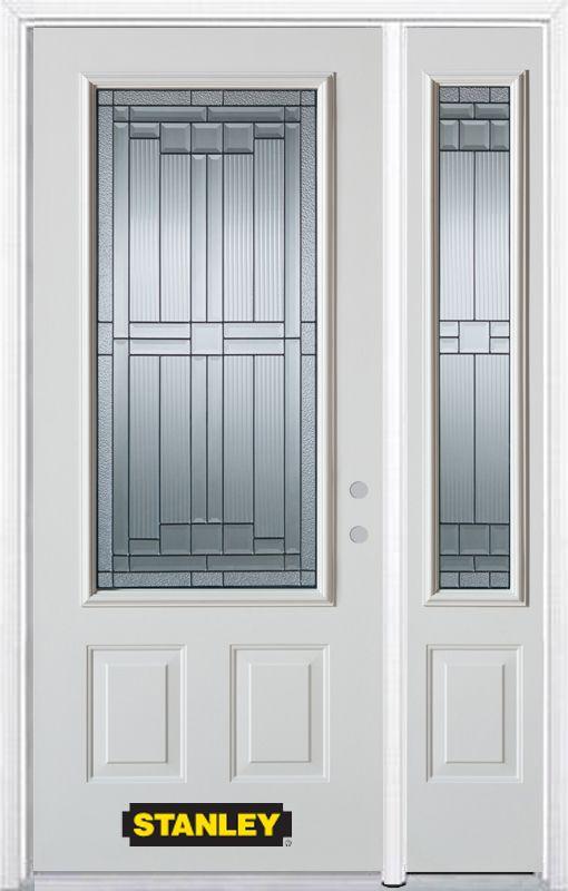 Stanley Doors 52 In X 82 In 3 4 Lite 2 Panel Pre Finished White Steel Entry Door With Sidelite