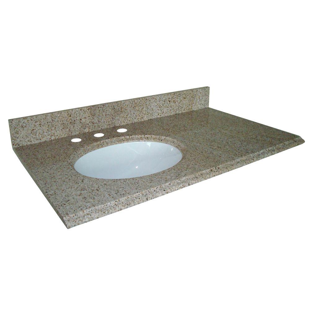 37-Inch W x 22-Inch D Granite Vanity Top in Beige with Left Bowl