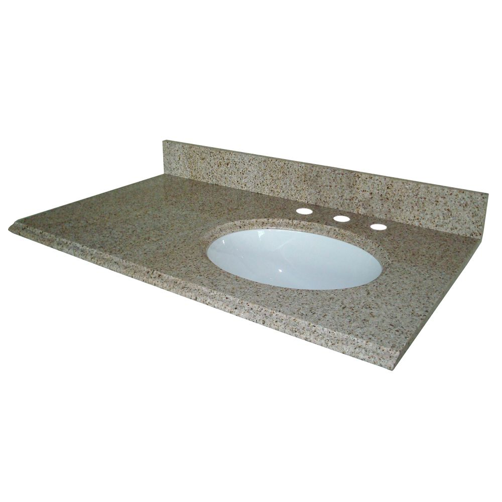 31-Inch W x 22-Inch D Granite Vanity Top in Beige with Right Bowl
