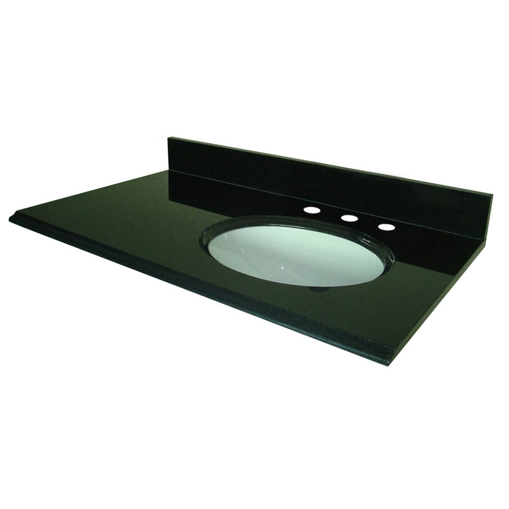 37-Inch W x 22-Inch D Granite Vanity Top in Black with Left Bowl