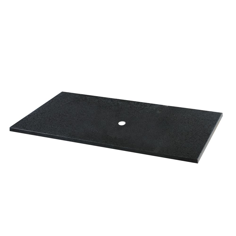 37-Inch W x 22-Inch D Granite Vessel Vanity Top in Black