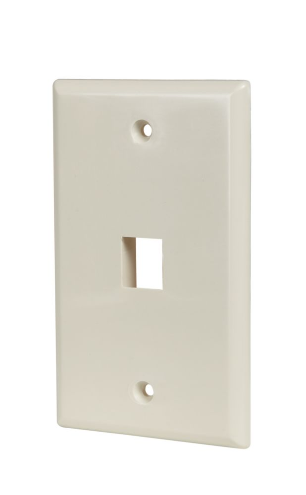 Commercial Electric 3-PORT wall plate, LT. ALMOND