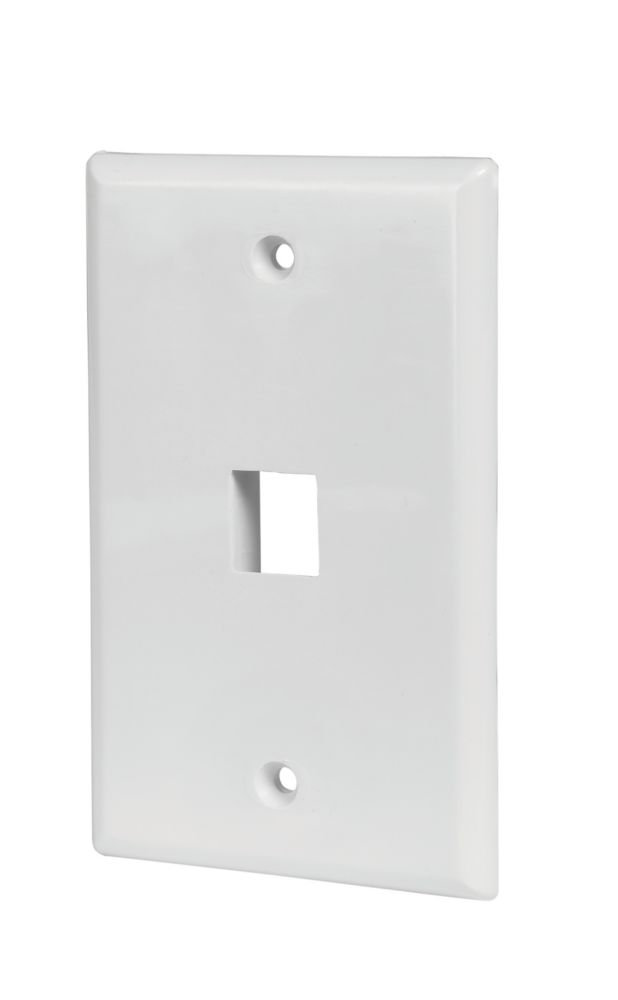 Commercial Electric 1-Port Wall Plate in White